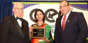 """Photo: Ms. Farhana Chowdhury received Award as """"Young Energy professional of the Year 2014- Asian Sub-continent"""" on 30 Sept, 2014 at Washington DC Convention Hall, USA under Association of Energy Engineers, USA"""