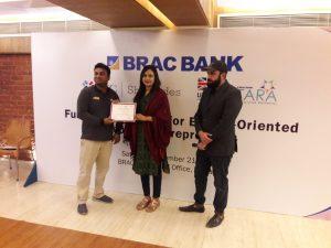 Ms. Farhana Chowdhury received certificate under SheTrades UK and Brac Bank combined program, December 2019